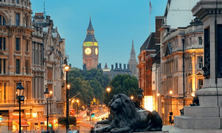 View down Whitehall from Trafalgar Square