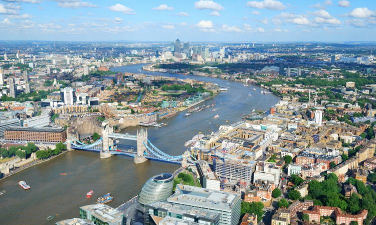 Aerial View of London and the Thames